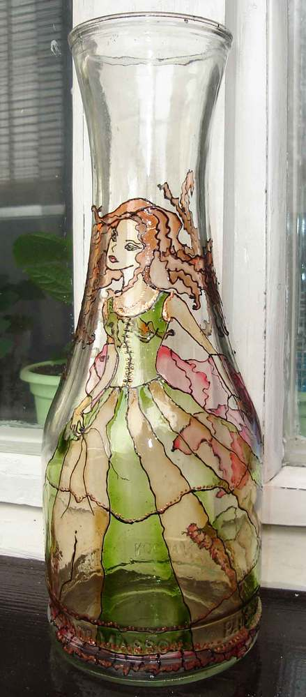 Рисунок на бутылке. Витражная краска. : LiveInternet ...