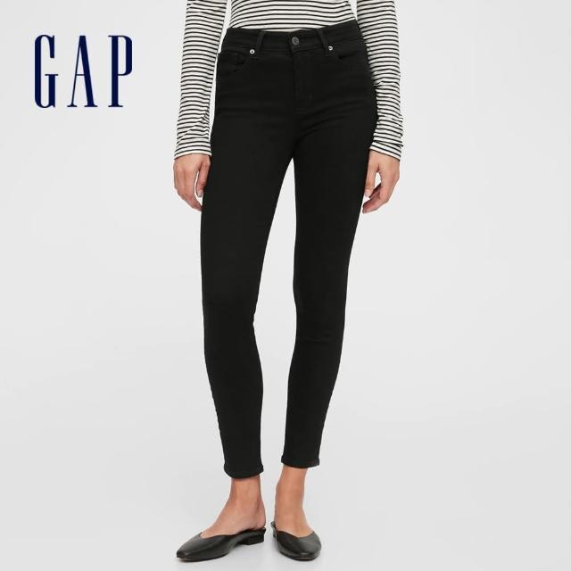 【GAP】女裝 時尚中腰五袋內搭褲(624131-黑色)