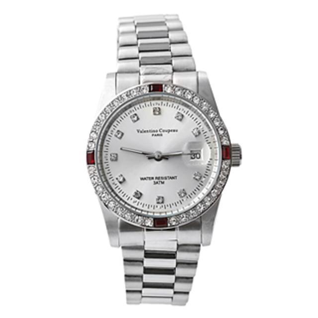 【范倫鐵諾˙古柏】全不鏽鋼崁入四方紅鑽手錶 送禮自用 評價