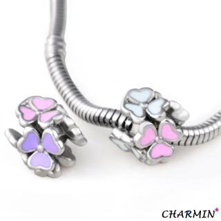 【E&I】CHARMIN 時尚創意手鍊  三色幸運草 316L白鋼造型串珠