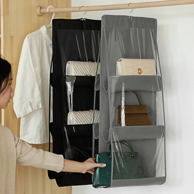 【愛家樂】日韓熱銷新升級加厚吊掛式PVC多層包包收納袋 包包衣物防塵置物袋 包包掛袋(收納神器)