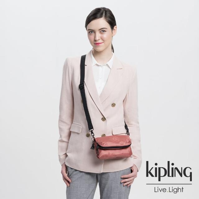 【KIPLING】都會金屬珊瑚橘多夾層收納手拿斜背包-IBRI