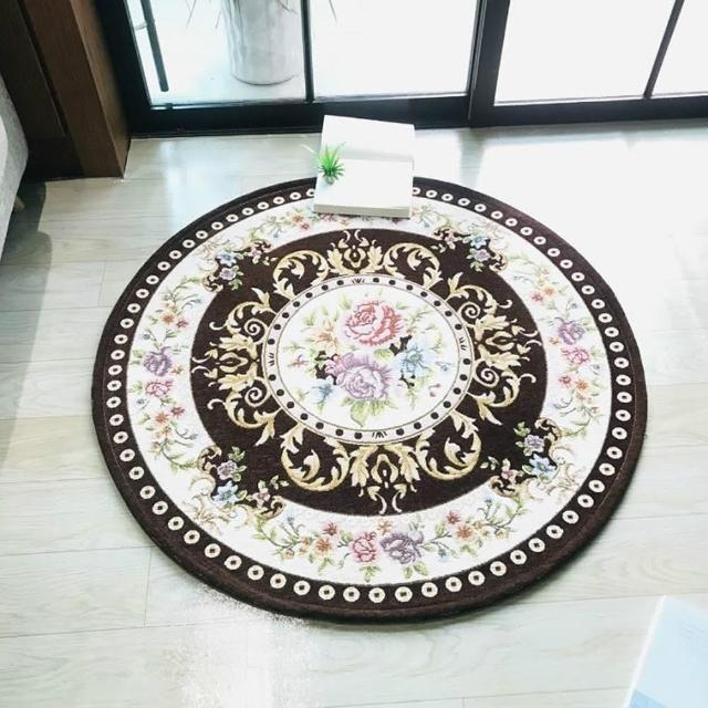 圓形歐式緹花客廳玄關臥室地毯地墊90cm棕色