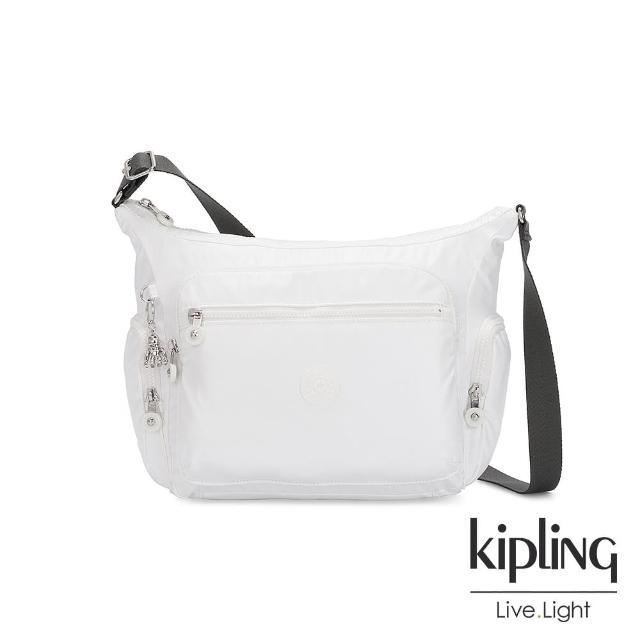 【KIPLING】時尚極簡白多袋實用側背包-GABBIE