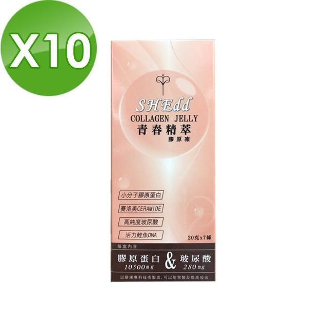 【必爾思】SHEdd 水噹噹青春精粹膠原凍 - 10 盒組 20克X70條 膠原QQ凍 膠原蛋白+玻尿酸二合一高效吸收