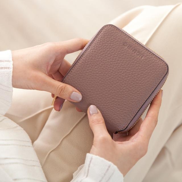 【CHENSON】真皮小方磚2.0軟蓬蓬5卡短夾 皮夾 零錢包 豆沙紫(W20333-U)