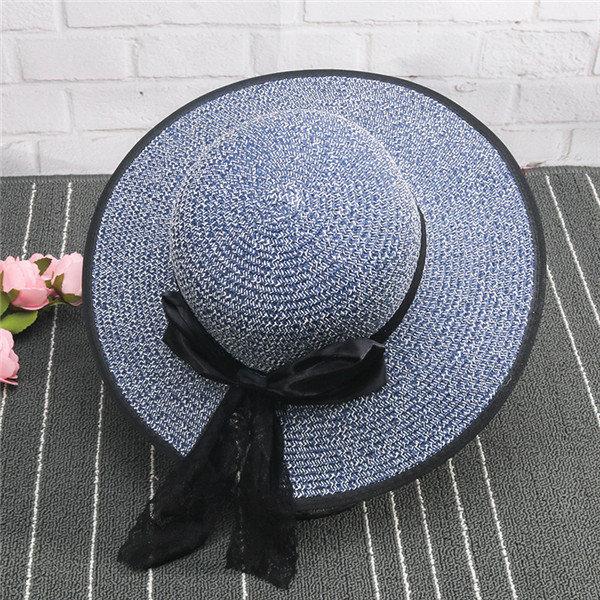 Summer Folding Straw Hat Big Wide Brim Beach Sun Hat UV Protection Panama Hat