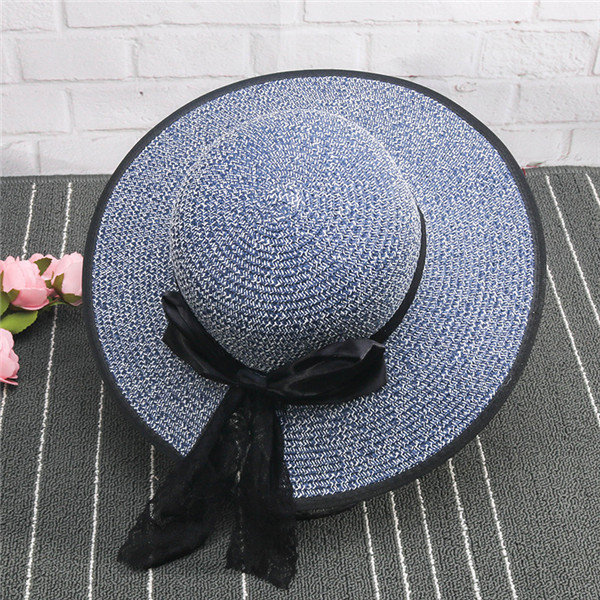 Summer Folding Straw Hat Big Wide Brim Beach Sun Hat UV Protection Panama Hat