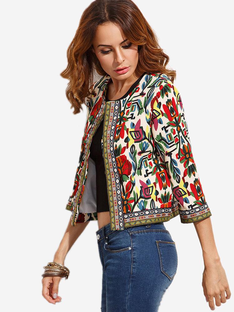 O-NEWE Women Ethnic Printed 3/4 Sleeve Jacket