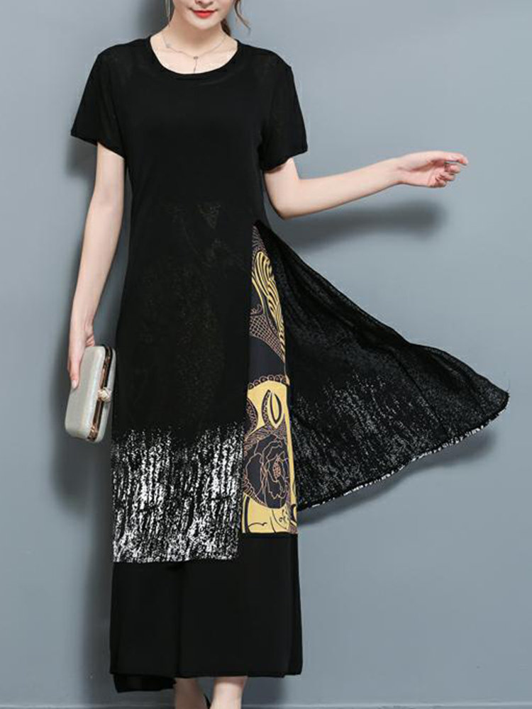 Women Casual Patchwork Two-Piece Maxi Slit Dresses