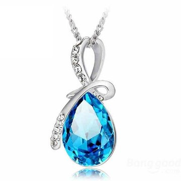 Water Drop Pendant Crystal Necklace