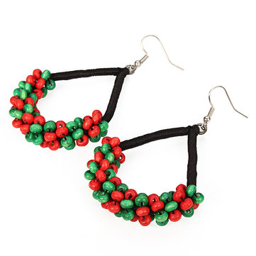 Ethnic Style Jewelry Colorful Wooden Beads Handmade Drop Earrings