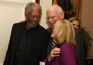 Actor Morgan Freeman speaks with Sen. Patrick Leahy, D-Vt., and his wife Marcelle at a Black History Month event celebrating the music of the Civil Rights Movement hosted by President Obama in the East Room of the White House, Tuesday, Feb. 9, 2010.