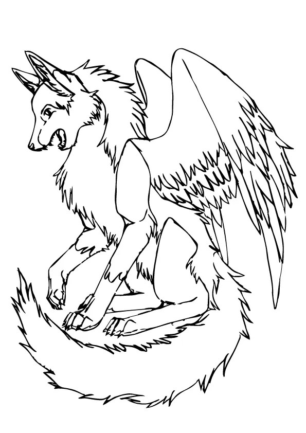 Parentune Free Printable Wolf With Wings Coloring Picture Assignment Sheets Pictures For Child