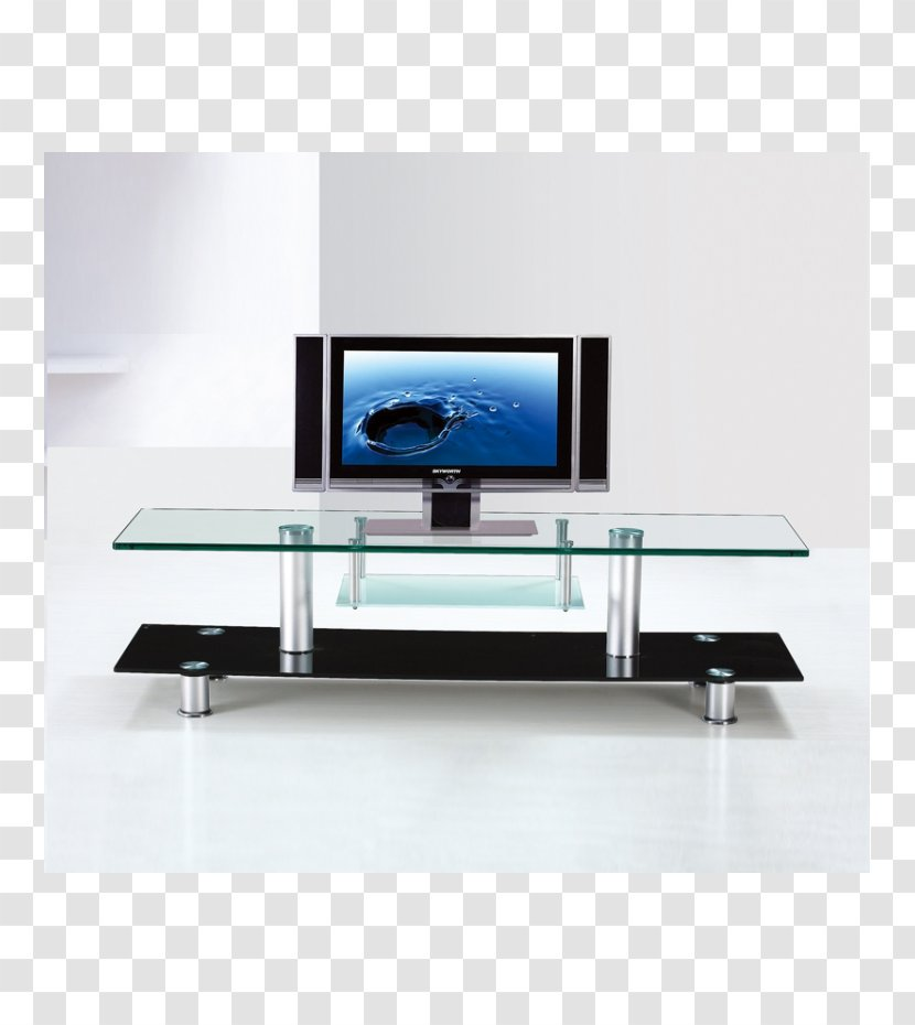 coffee tables glass television set