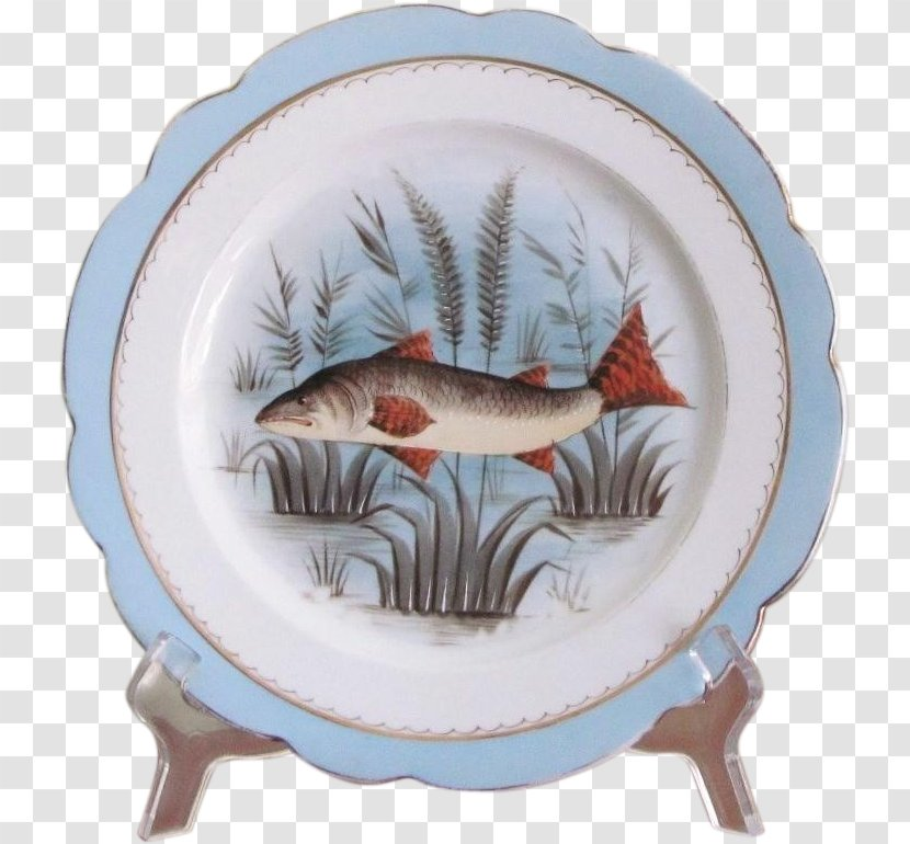 Plate Tableware Platter Mintons Porcelain Dishware Hand Painted Fish Transparent Png