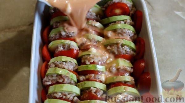 Рецепт: Кабачки, запеченные в духовке, с фаршем и рисом на ...