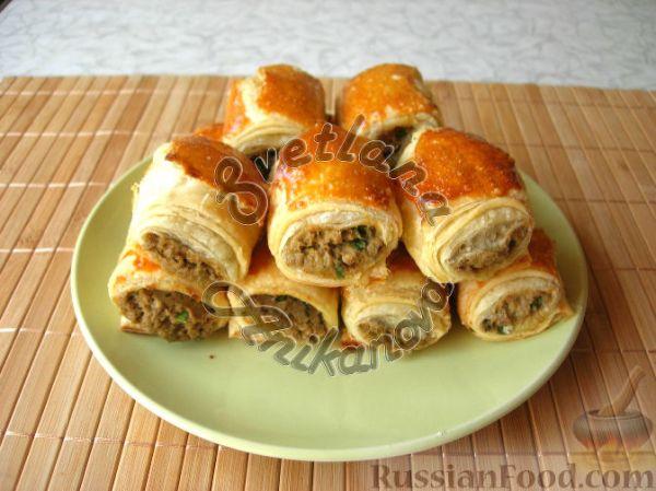 Рецепт: Бурекасы (пирожки) из слоеного теста с рыбной ...
