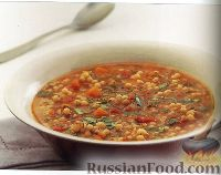 Фото к рецепту: Суп из помидоров и израильского кускуса