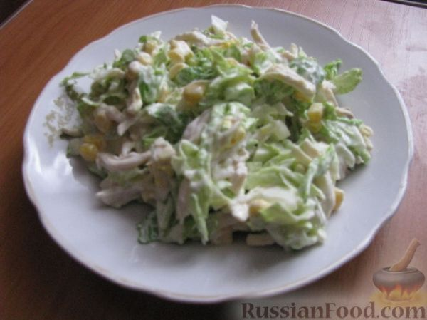 Рецепт: Салат из пекинской капусты с курицей на ...