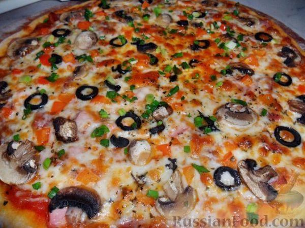 Рецепт: Пицца с ветчиной и грибами на RussianFood.com