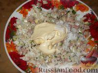 Рецепт: Салат из печени трески с рисом на RussianFood.com