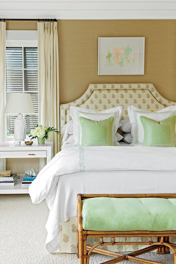 Coastal Bedroom With Layered Decor