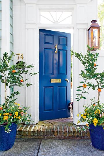 Front Door Container Gardens   Southern Living Play the Blues Front Door Containers