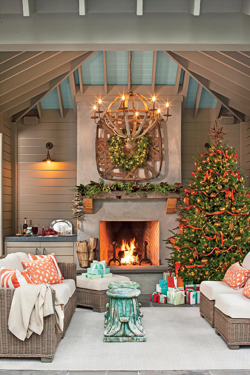 100 Fresh Christmas Decorating Ideas   Southern Living Set a Holiday Scene In Your Outdoor Room