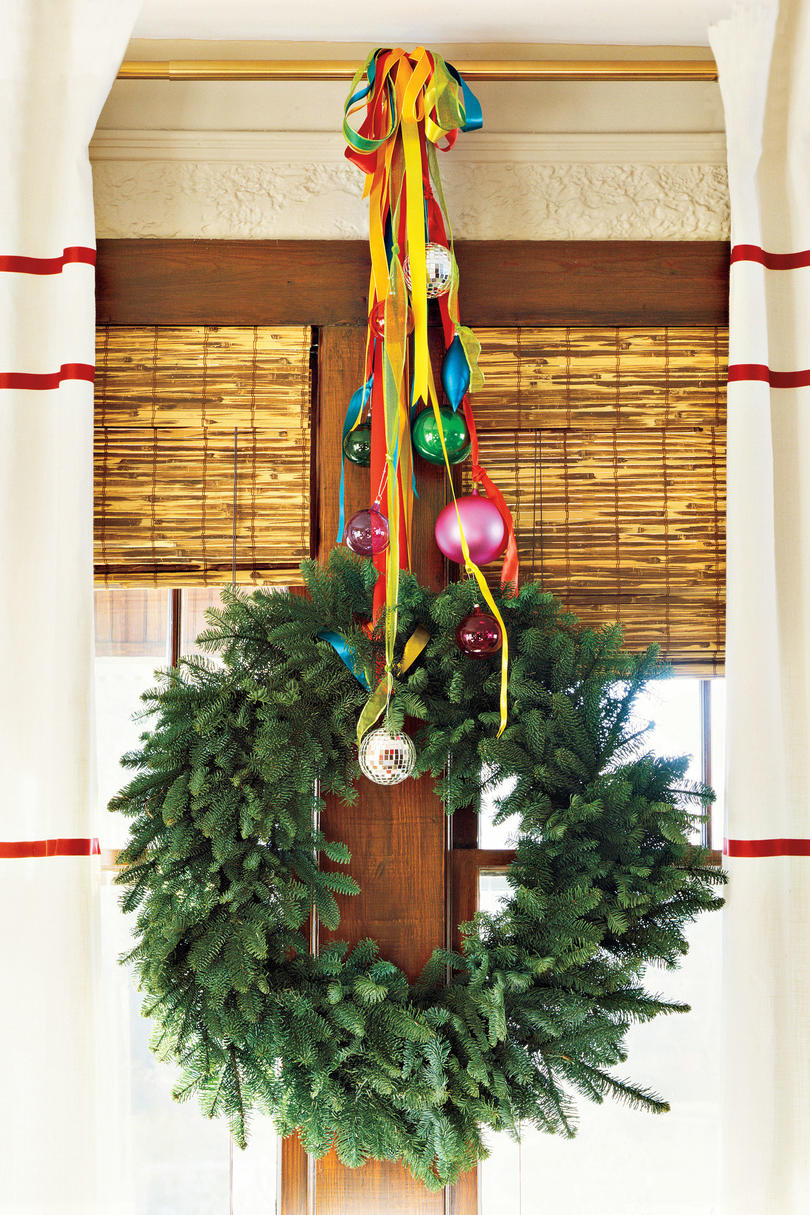 100 Fresh Christmas Decorating Ideas   Southern Living Christmas Decorating Ideas  Curtain Rod Wreath