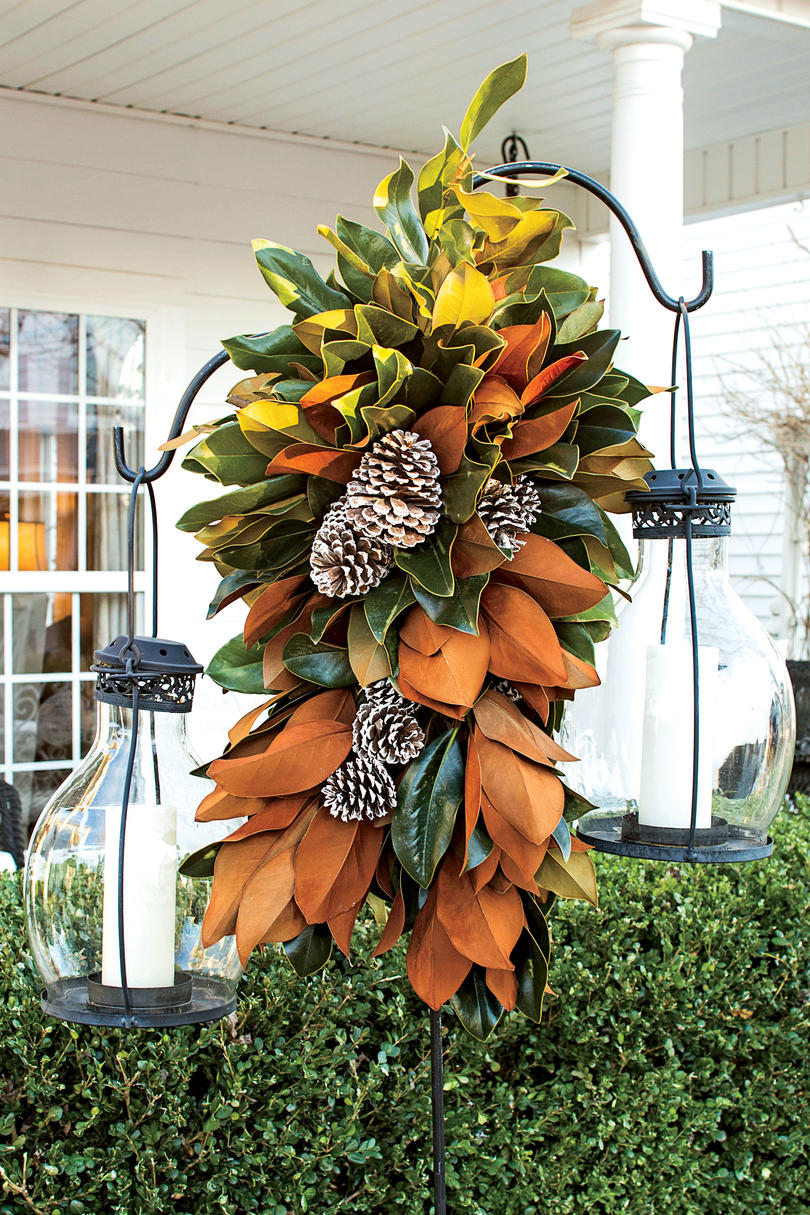 10 Ways to Decorate with Magnolia this Christmas   Southern Living Magnolia Lamppost