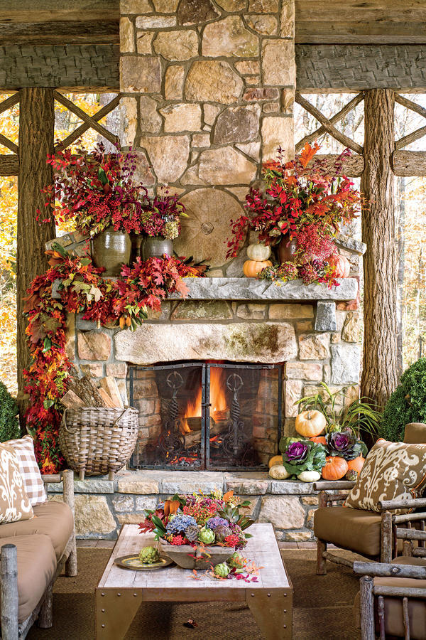16 Ways to Spice Up Your Porch Décor for Fall - Southern ... on Small Outdoor Fireplace Ideas id=14970