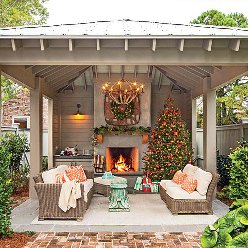 Glowing Outdoor Fireplace Ideas - Southern Living on Outdoor Kitchen And Fireplace Ideas id=80583