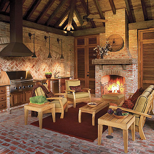 Glowing Outdoor Fireplace Ideas - Southern Living on Outdoor Kitchen And Fireplace Ideas id=72205