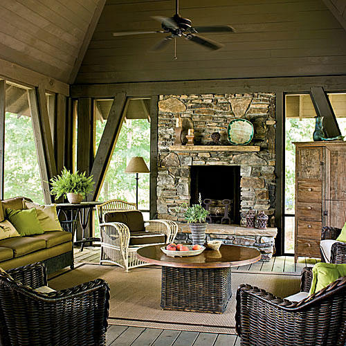 Glowing Outdoor Fireplace Ideas - Southern Living on Southern Pools And Outdoor Living id=60779