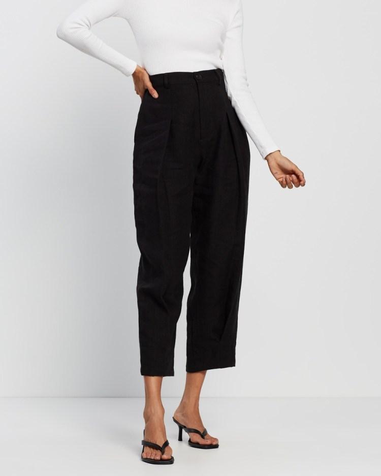 AERE Pleat Front Pants Black