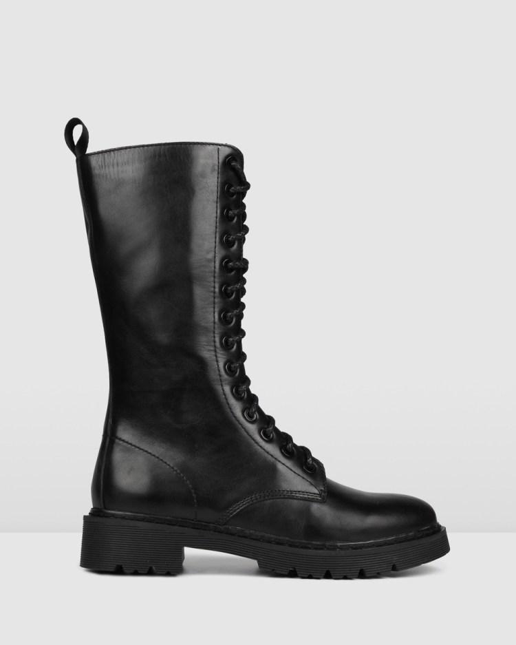 Jo Mercer Zig Knee Boots Knee-High BLACK LEATHER