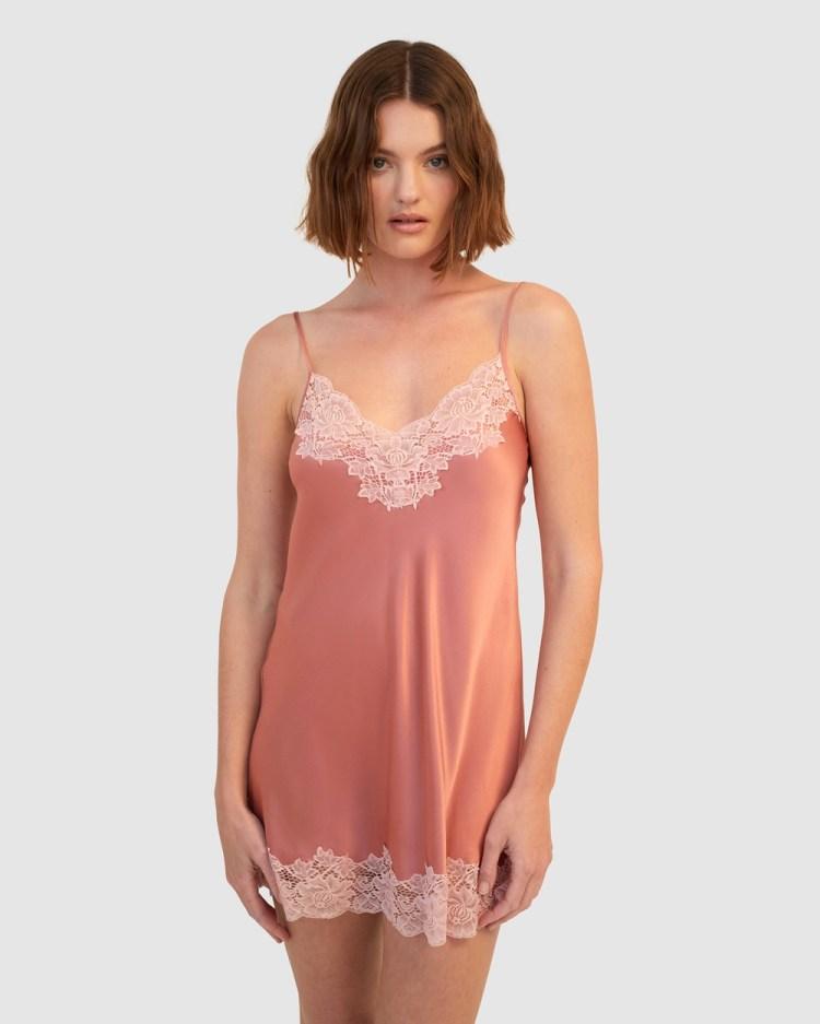 GINIA Pick & Mix Silk Chemise Sleepwear Mauve Glow