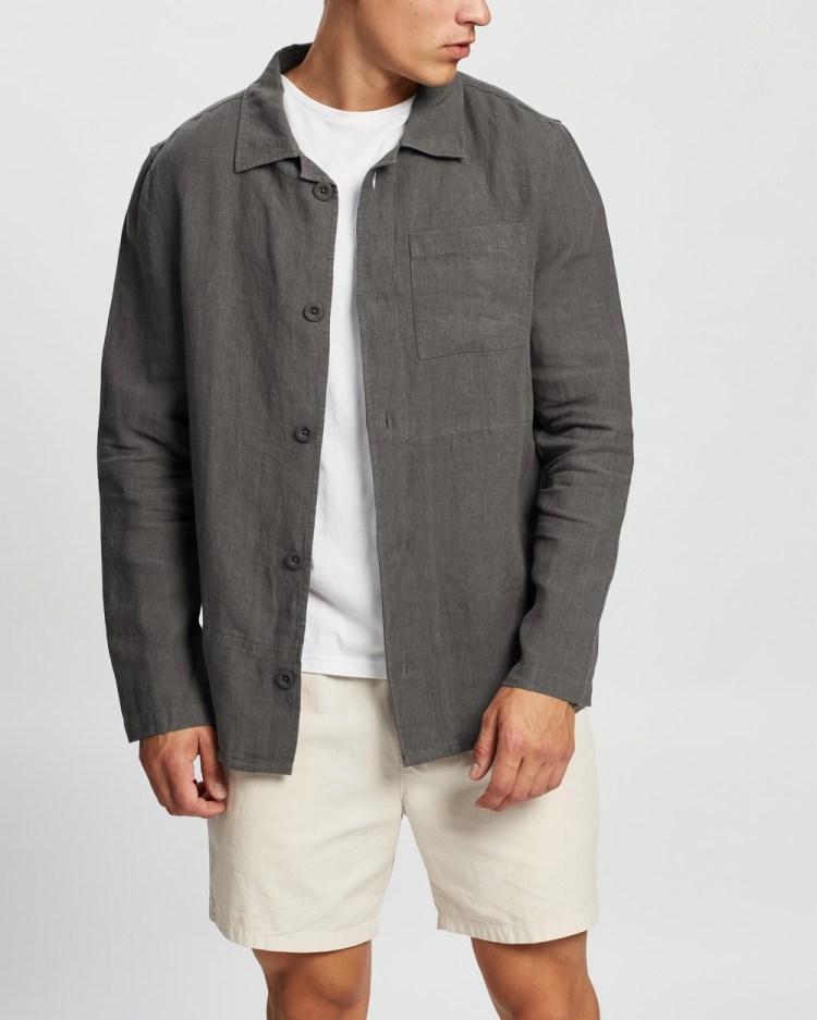 AERE Relaxed Linen Overshirt Coats & Jackets Charcoal