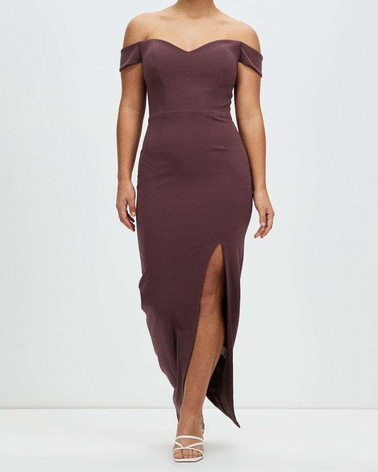 Romance by Honey and Beau Shine Off The Shoulder Maxi Dresses Dirty Pink Off-The-Shoulder