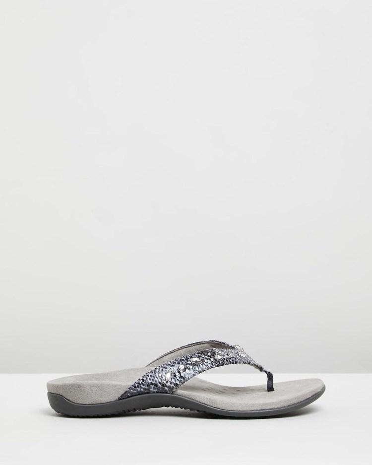 Vionic Lucia Toe Post Sandals All thongs Slate Grey Snake