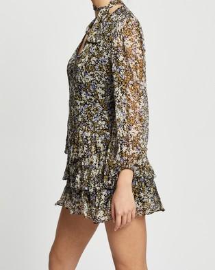Shona Joy - Valentina Scarf Neck Mini Dress - Printed Dresses (Black & Multi) Valentina Scarf Neck Mini Dress