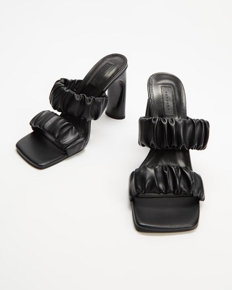 TOPSHOP Rumi Ruched Mules Heels Black