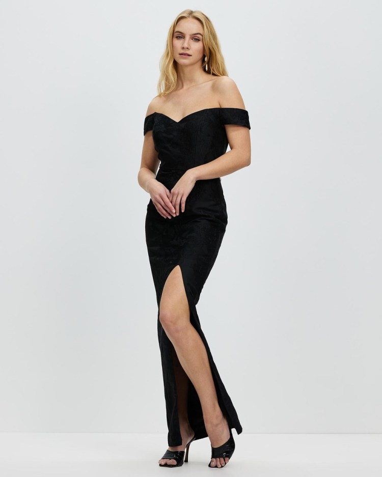 Romance by Honey and Beau Shine Off The Shoulder Maxi Dresses Black Off-The-Shoulder