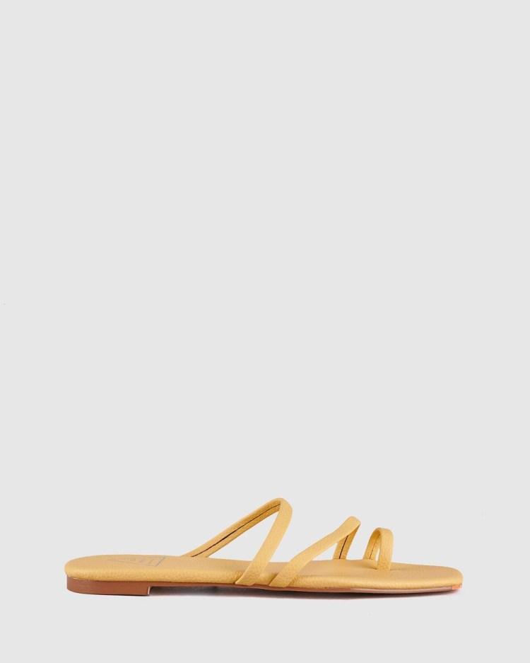 St Sana Melon Slides Sandals Yellow