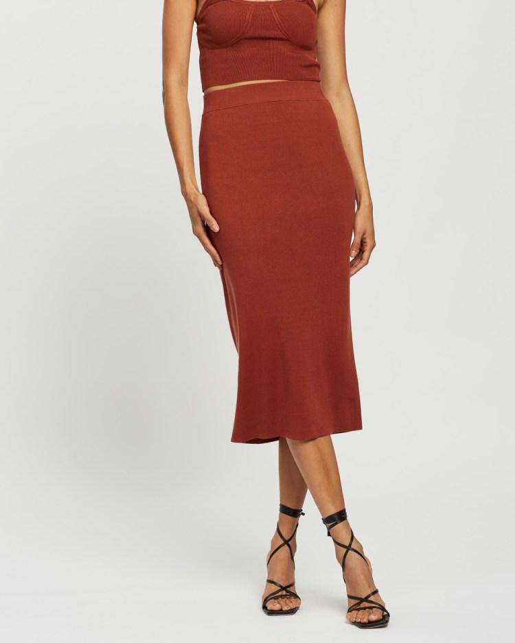 AERE Tubular Midi Skirt Skirts Cinnamon