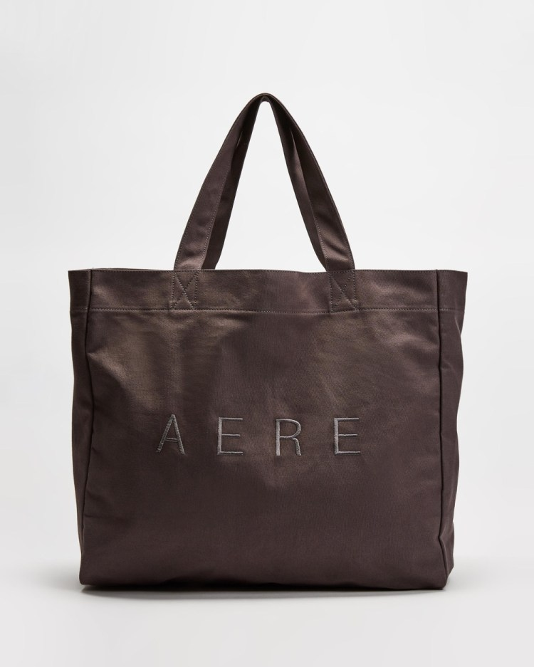AERE Organic Canvas Oversized Tote Bags Charcoal Black