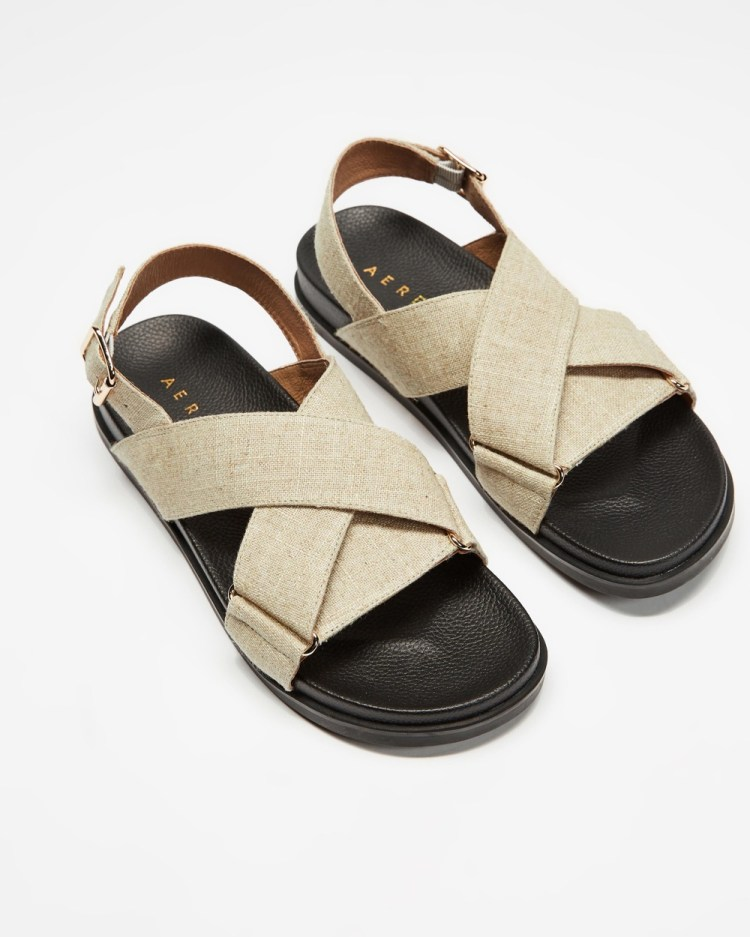 AERE Linen Crossover Footbed Sandals Off White Linen