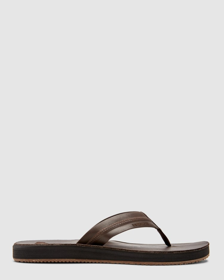 Quiksilver Mens Carver Natural Leather Sandals Thongs BROWN/BROWN/BROWN