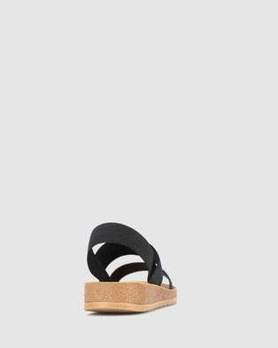 Betts Rise Elastic Low Wedge Sandals Black